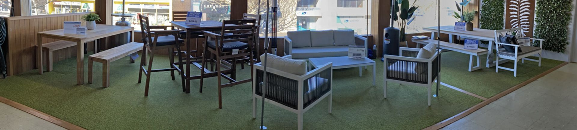Come in and see our new outdoor furniture upstairs showroom. We have a great range of outdoor furniture.